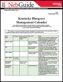 Kentucky Bluegrass Management Calendar