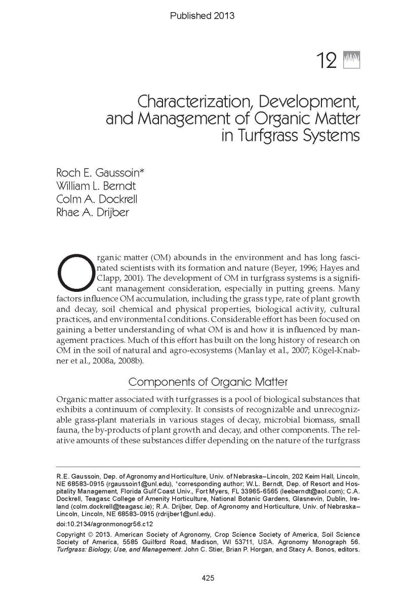 Characterization, Development, and Management of Organic Matter in Turfgass Systems
