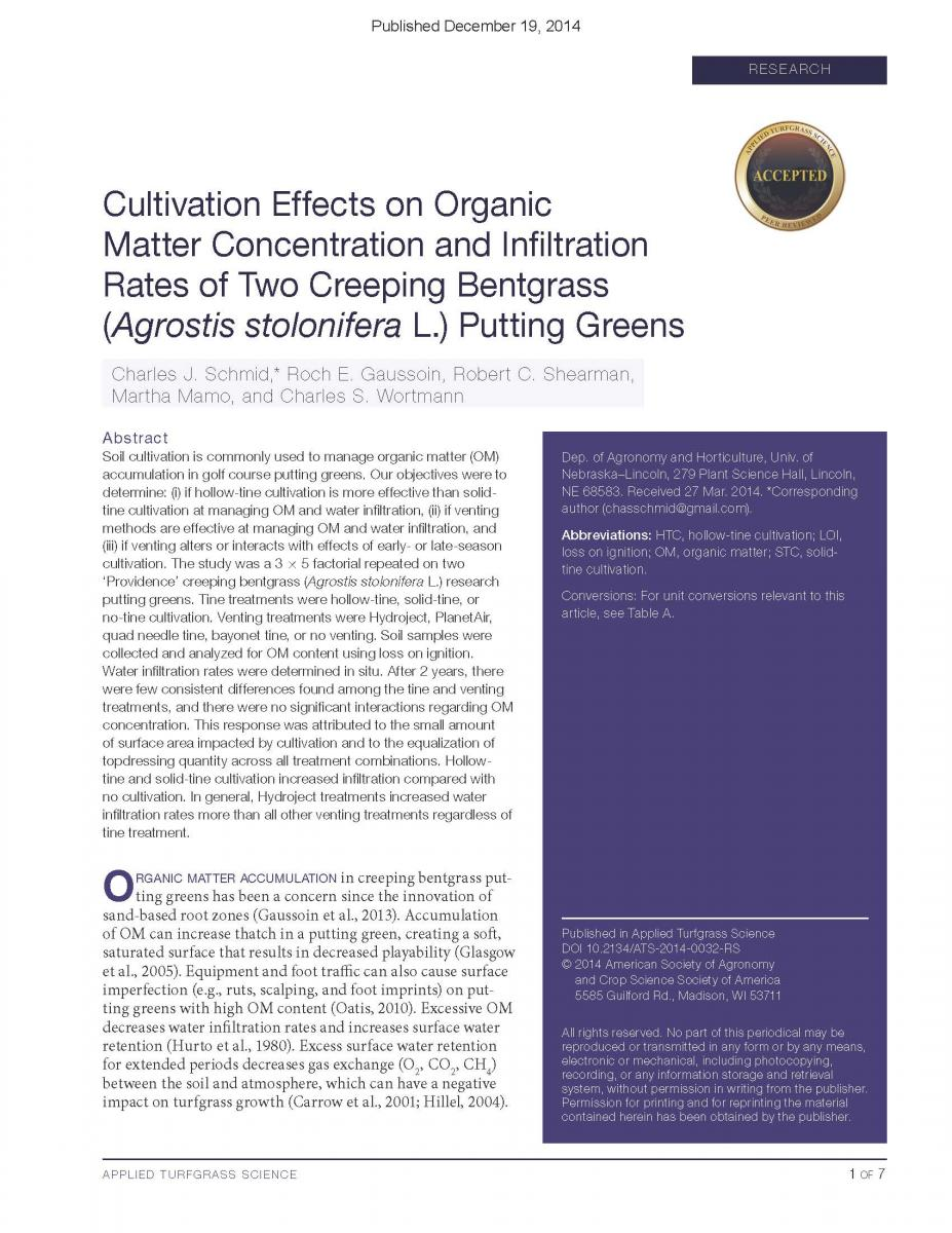Cultivation Effects on Organic Matter Concentration
