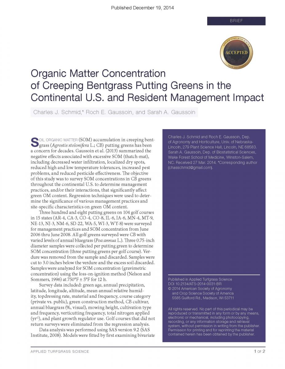 Organic Matter Concentration of Creeping Bengrass Putting Greens in the Continental U.S. and Resident Management Impact
