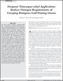 Frequent Trinexapac-ethyl Applications Reduce Nitrogen Requirements of Creeping Bentgrass Golf Putting Greens