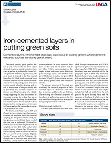 Iron-cemented layers in putting green soils