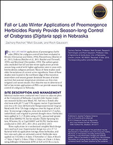 Fall or Late Winter Applications of Preemergence Herbicides
